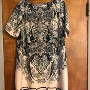 Chico Blush Black And Gray Paisley Dress L